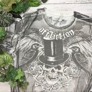 Affliction Distressed Skull Ravens Graphic Tee 2XL